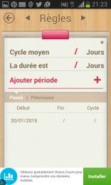 Mon calendrier- définir la durée du cycle