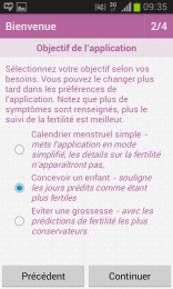 Ovuview - choisir son usage (calendrier, grossesse)